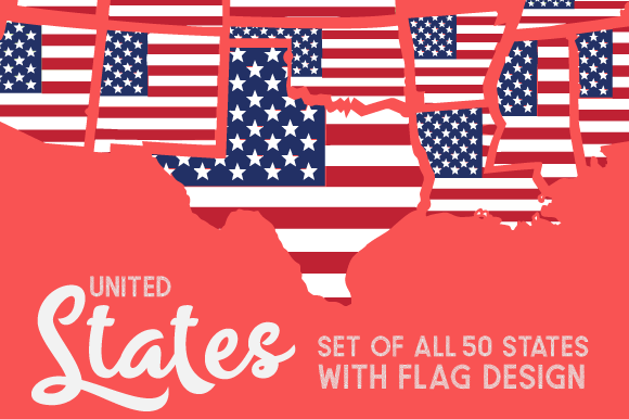 Set of All 50 US States with American Flag Pattern Kits & Sets Craft Cut File By Creative Fabrica Crafts