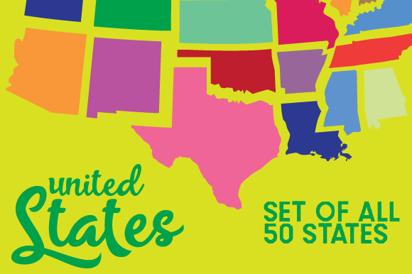 Set of All 50 US States Contour Designs & Drawings Craft Cut File By Creative Fabrica Crafts