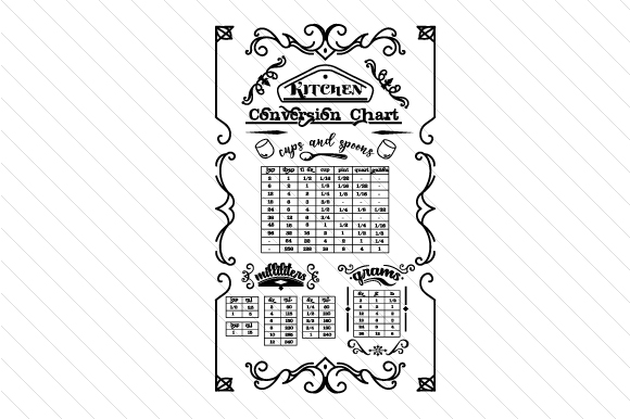 Download Free Kitchen Conversion Chart Svg Cut File By Creative Fabrica Crafts for Cricut Explore, Silhouette and other cutting machines.