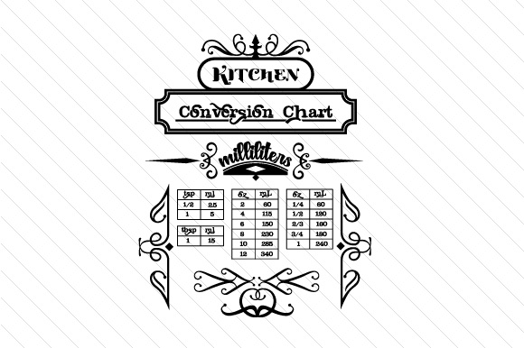 Kitchen Conversion Chart Milliliters Svg Cut File By Creative
