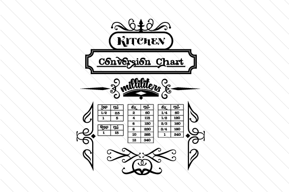 Download Free Kitchen Conversion Chart Milliliters Svg Cut File By Creative for Cricut Explore, Silhouette and other cutting machines.
