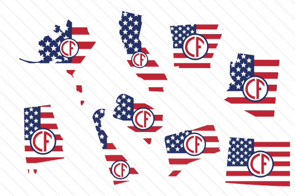 Download Free Set Of All 50 Us States Monograms With American Flag Pattern Svg for Cricut Explore, Silhouette and other cutting machines.
