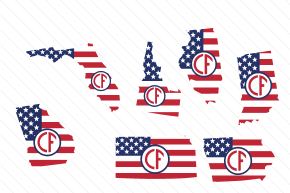 Set of All 50 US States Monograms with American Flag Pattern Cut File Download