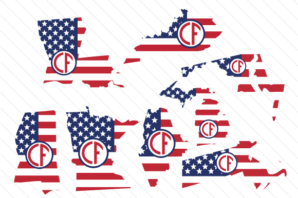 Set of All 50 US States Monograms with American Flag Pattern Kits & Sets Craft Cut File By Creative Fabrica Crafts - Image 3