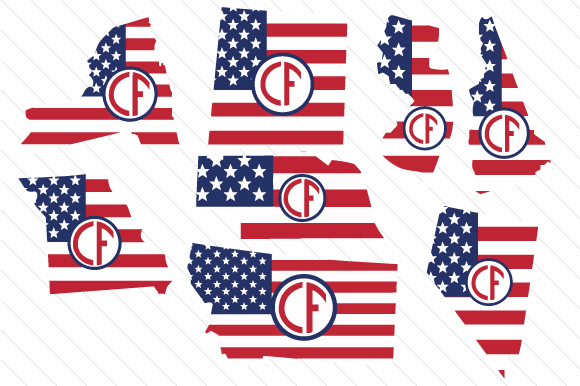 Set of All 50 US States Monograms with American Flag Pattern Kits & Sets Craft Cut File By Creative Fabrica Crafts - Image 4