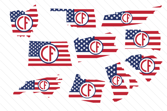 Set of All 50 US States Monograms with American Flag Pattern Kits & Sets Craft Cut File By Creative Fabrica Crafts - Image 5