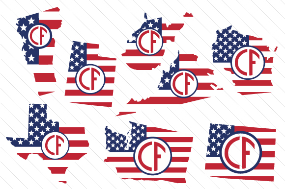 Set of All 50 US States Monograms with American Flag Pattern Cut File Image