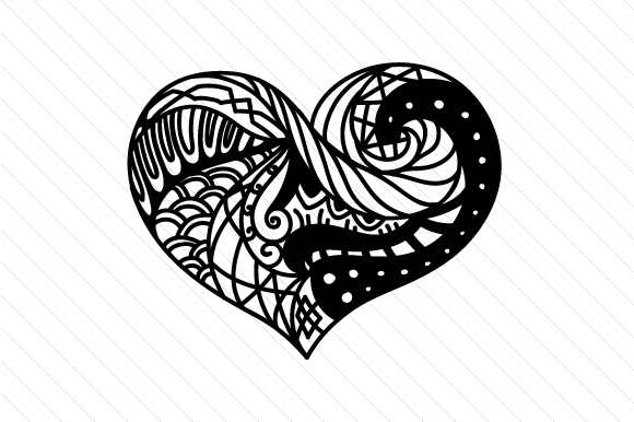 Zentangle Heart Zentangle Craft Cut File By Creative Fabrica Crafts