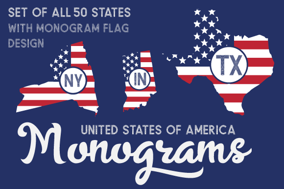 Set of All 50 US States Monograms with American Flag Pattern Kits y Sets Archivo de Corte Craft Por Creative Fabrica Crafts