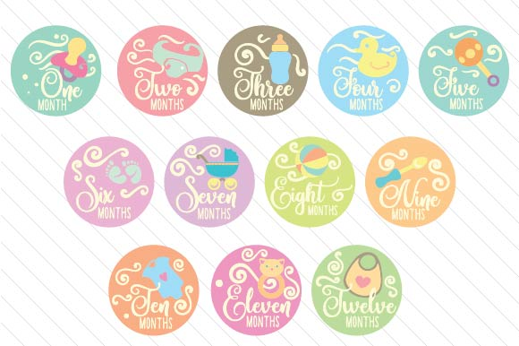Babies First Year - Set of Monthly Baby Stickers Kinder Plotterdatei von Creative Fabrica Crafts