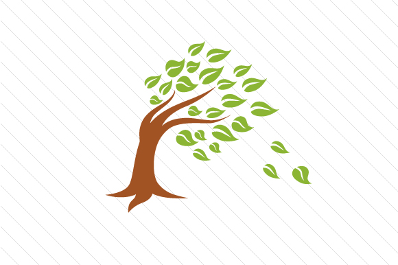 Download Free Tree Bending With Leaves Blowing In The Wind Svg Cut File By for Cricut Explore, Silhouette and other cutting machines.
