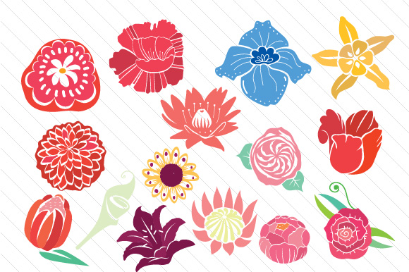Big Handdrawn Flowers Designs & Drawings Craft Cut File By Creative Fabrica Crafts