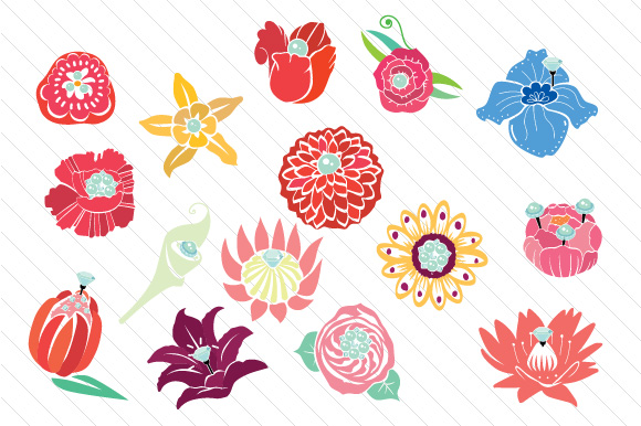 Big Handdrawn Flowers with Bling Designs & Drawings Craft Cut File By Creative Fabrica Crafts