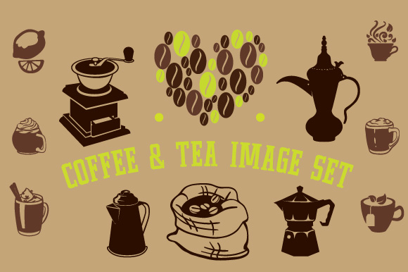 Coffee & Tea Image Set Coffee Craft Cut File By Creative Fabrica Crafts