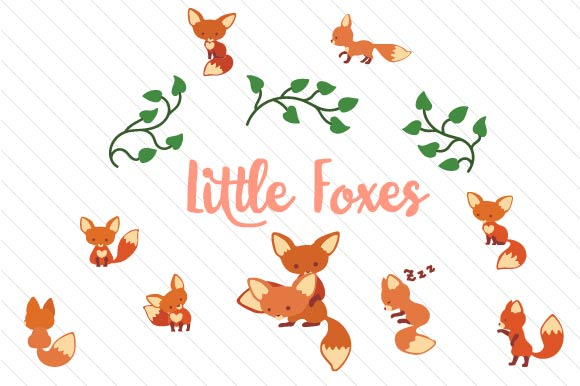 Download Free Cute Little Foxes Graphics Set Svg Cut File By Creative Fabrica for Cricut Explore, Silhouette and other cutting machines.
