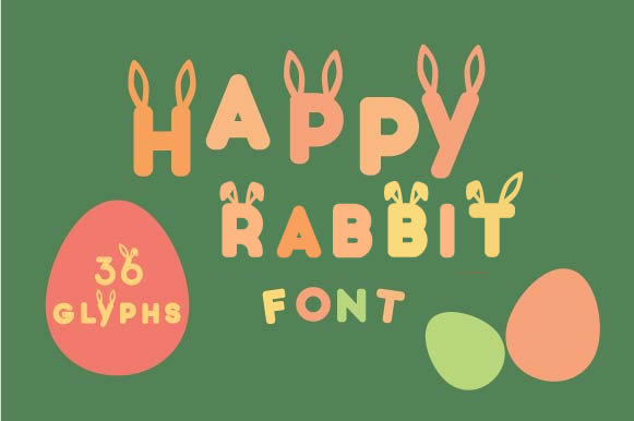Happy Rabbit Font  Gráfico Decorativa Por Creative Fabrica Freebies