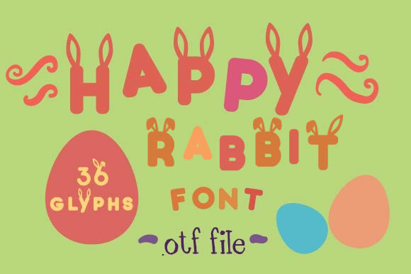 Print on Demand: Happy Rabbit Schriftart Schriftarten von Creative Fabrica Freebies