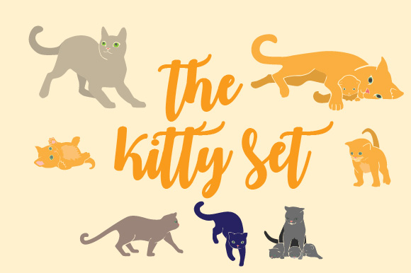 Kitten Drawing Set Cats Craft Cut File By Creative Fabrica Crafts