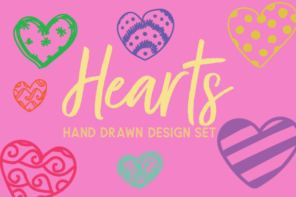 Hand Drawn Hearts Set Kits & Sets Craft Cut File By Creative Fabrica Crafts