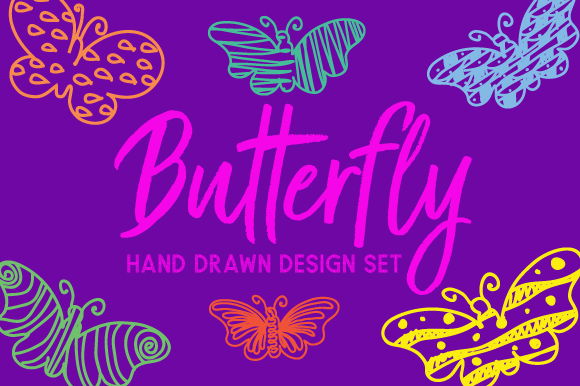 Hand Drawn Butterfly Set Kits & Sets Craft Cut File By Creative Fabrica Crafts