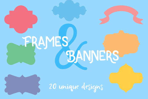 Set of 20 Frames & Banners Designs & Drawings Craft Cut File By Creative Fabrica Crafts