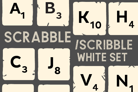 Scrabble/Scribble Set White Kits & Sets Craft Cut File By Creative Fabrica Crafts
