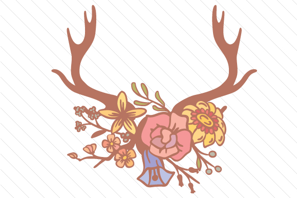 Antlers Decorated with Flowers Craft Design By Creative Fabrica Crafts