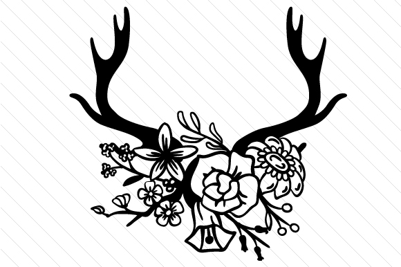 Download Free Antlers Decorated With Flowers Svg Cut File By Creative Fabrica for Cricut Explore, Silhouette and other cutting machines.