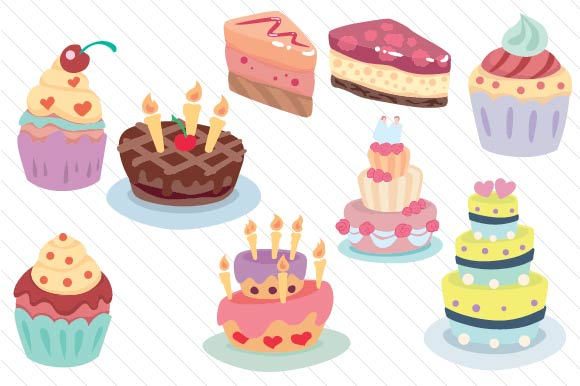 Download Free Cake Design Set Svg Cut File By Creative Fabrica Crafts for Cricut Explore, Silhouette and other cutting machines.