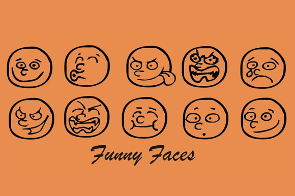 Print on Demand: Funny Faces Dingbats Font By Gustavo Lucero