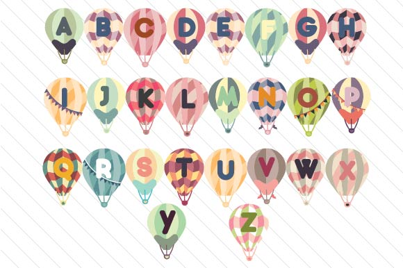 Hot Air Balloon Letters Designs & Drawings Craft Cut File By Creative Fabrica Crafts