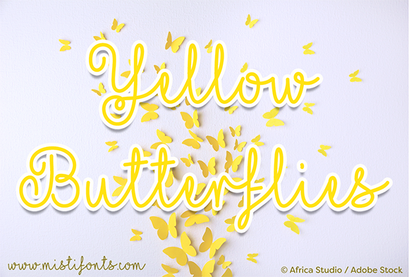 Print on Demand: Yellow Butterflies Script & Handwritten Font By Misti