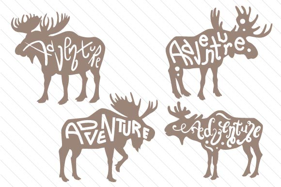Adventure Moose Silhouettes Designs & Drawings Craft Cut File By Creative Fabrica Crafts