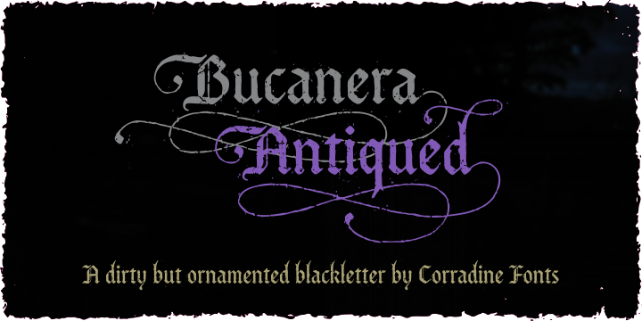 Print on Demand: Bucanera Antiqued Family Blackletter Font By Corradine Fonts