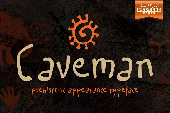 Print on Demand: Caveman Family Display Font By Corradine Fonts