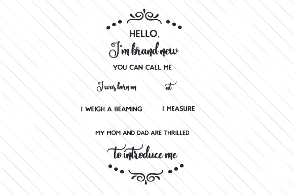 Hello, I'm Brand New Baby Craft Cut File By Creative Fabrica Crafts