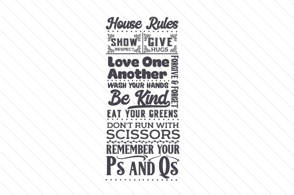 House Rules - Subway Art Subway Art Craft Cut File By Creative Fabrica Crafts