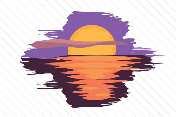 Sunset over Water Designs & Drawings Craft Cut File By Creative Fabrica Crafts