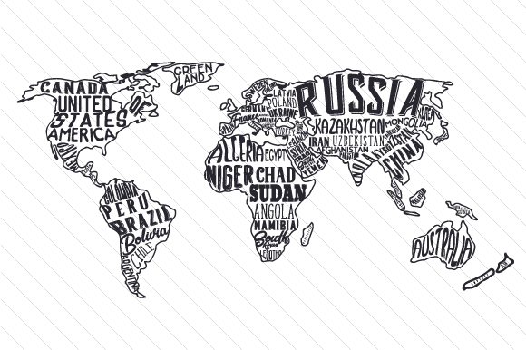 World Map Collage Cut File