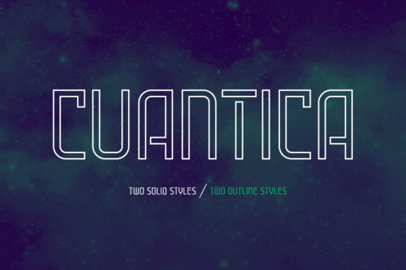 Print on Demand: Cuantica Family Display Font By Graviton Font Foundry