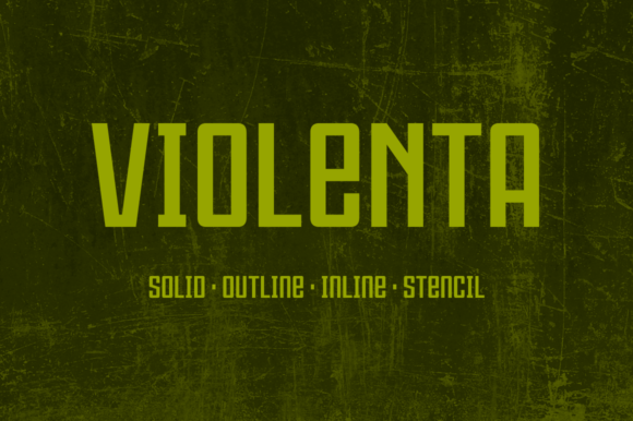 Print on Demand: Violenta Family Display Font By Graviton Font Foundry