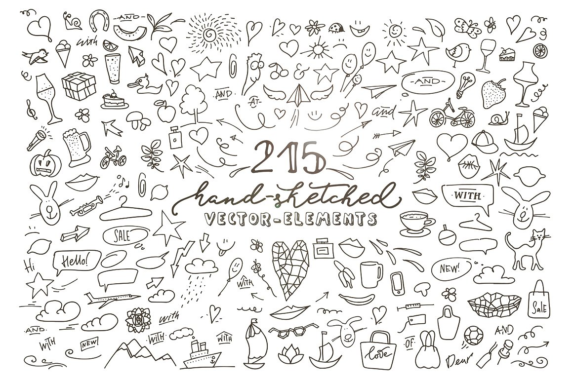 215 Hand Sketched Vector Elements Graphic By Blessed Print