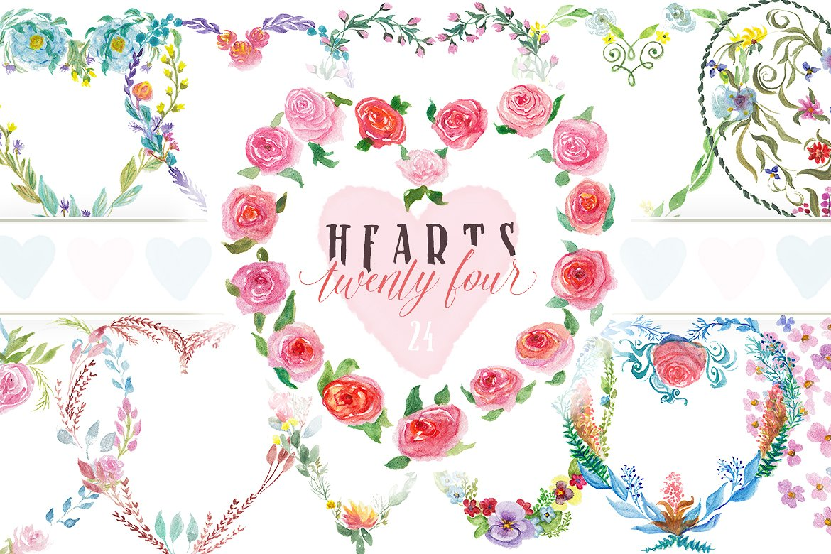 Pre-made Floral Hearts Graphic By Blessed Print