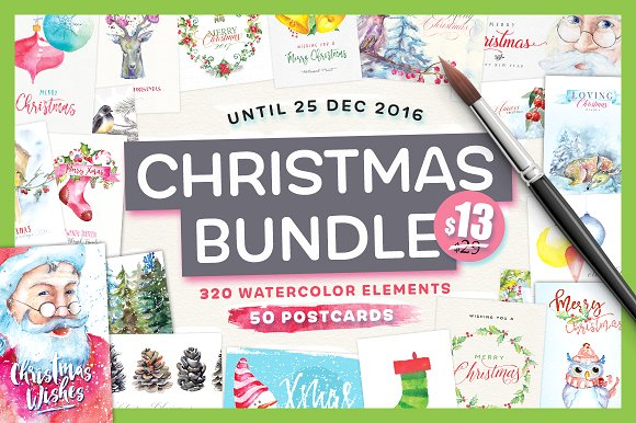 Watercolor Christmas Bundle Graphic Illustrations By Blessed Print