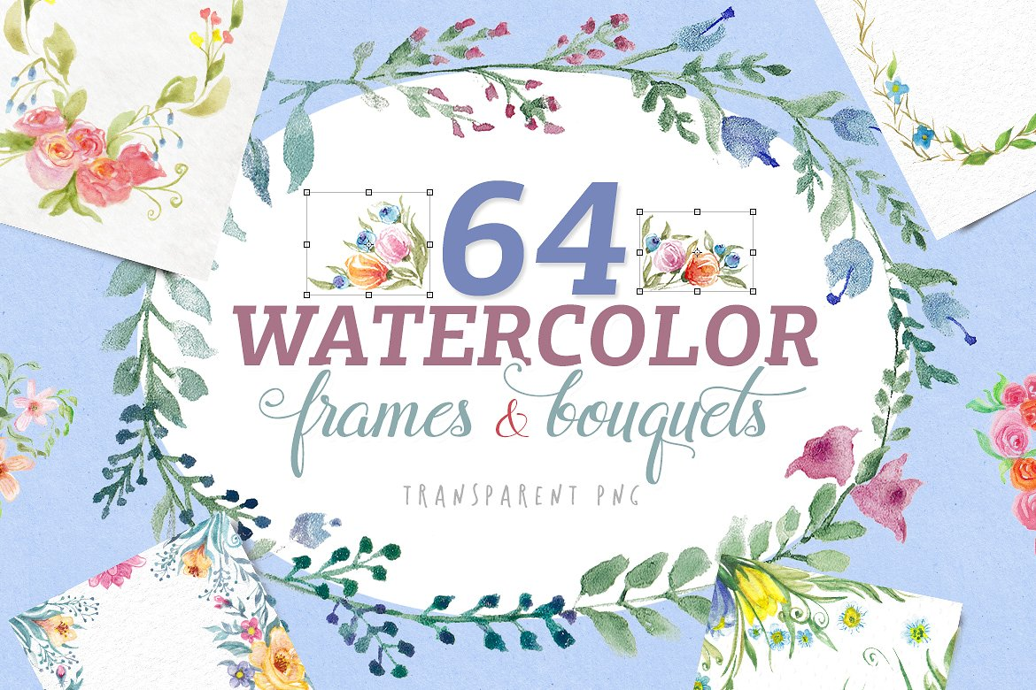 64 Watercolor Frames & Bouquets Graphic By Blessed Print
