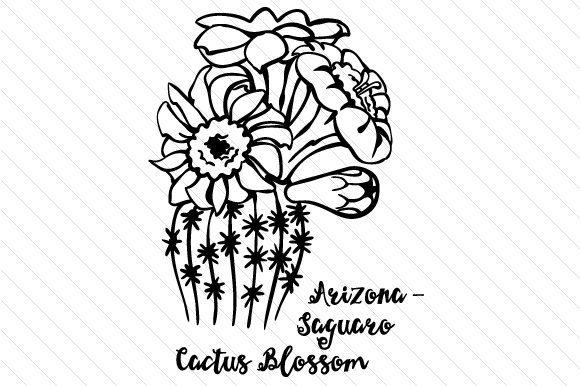 Download Free State Flower Arizona Saguaro Cactus Blossom Svg Cut File By for Cricut Explore, Silhouette and other cutting machines.