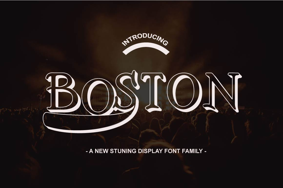 Print on Demand: Boston Font Family Display Schriftarten von Ajir