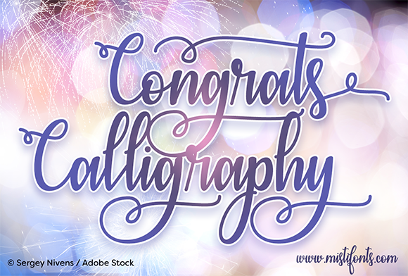 Print on Demand: Congrats Calligraphy Script & Handwritten Font By Misti