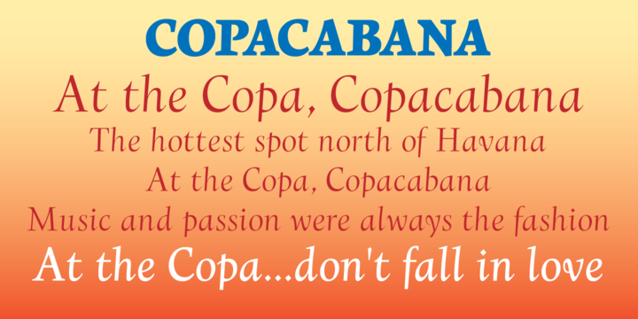 Print on Demand: Copacabana Family Serif Font By Alan Meeks