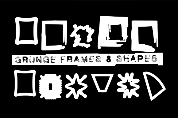 Print on Demand: Grunge Frames Dingbats Font By GraphicsBam Fonts